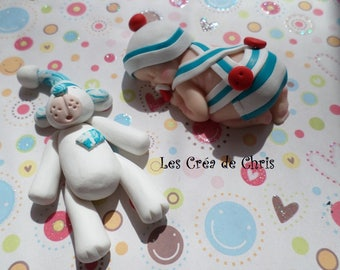 polymer clay striped onesie marine-theme boy baby.