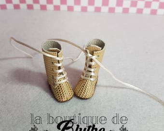 Golden Leather boots for Blythe doll-Golden leather Booties for Blythe