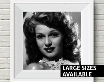 FREE SHIPPING - Rita Hayworth Print, Classic Black and White, Pin-up, Old Hollywood, Iconic Art Print, Wall Art, Art Print, 1940s, 1950s