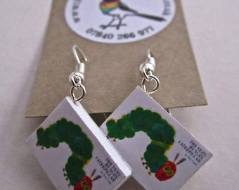 """The Very Hungry Caterpillar Book Earrings from """"The Earring Library"""""""