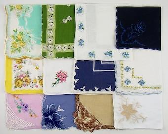 Vintage Hanky Lot 1 Dozen Assorted Vintage Hankies Handkerchiefs (Lot #K15)