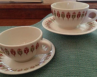 Syracuse Syralite Cups & Saucers - Set of 2