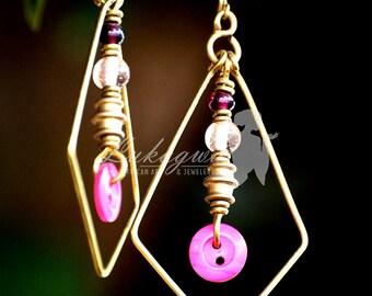 Pink Button earrings,Brass Button Earrings,African Button Earrings