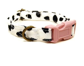 Moo - White Black Cow Print Bovine Farm Animal Dots Dotted Organic Cotton CAT Collar Breakaway Safety - All Antique Metal Hardware
