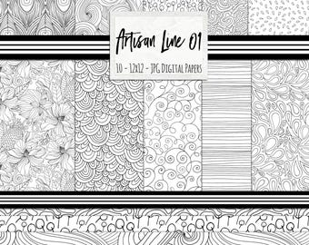 Black and White Pattern Digital Paper, Hand Drawn Line Illustrations, Mermaid Scale Pattern Background, Coloring Scrapbook Paper