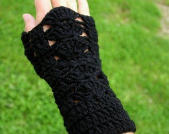 Black arm warmers fingerless gloves knitted wool hand crochet only made in France