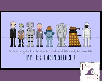 Doctor Who themed It is Defended monsters, villains, enemies cross stitch - PDF pattern - INSTANT DOWNLOAD
