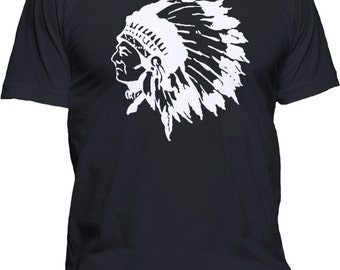 Men's Indian Chief T-Shirt Native American Black Hawk Graphic Tee