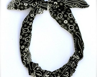 Bohemian scarf necklace - black and white geometric fabric jewelry