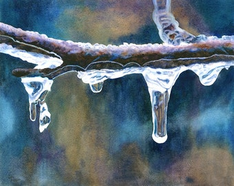 """Original Watercolor Painting Icicles by Cathy Hillegas, 14.5"""" x 18. 2"""", contemporary art, winter art, watercolor original, blue cyan brown"""