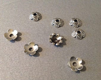 Lot 2 silver 10 mm - creating jewelry flowers bead caps