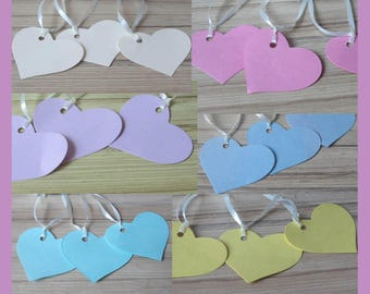 Heart shaped tags with ribbon.Weddings,Wishing tree,Crafts,Labels,Pack of 20