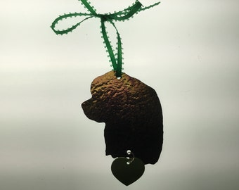 Cocker Spaniel Silhouette Ornament in Stained Glass