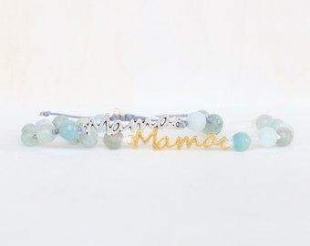 Aquamarine Mama Gemstone and Knots Bracelet