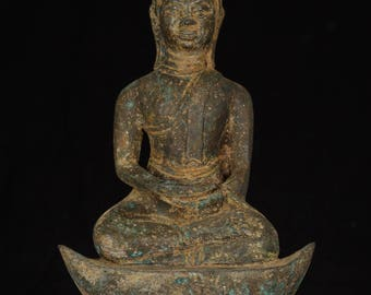Antique 19th Century Southeast Asia U Thong Meditation Buddha Statue - 28cm/11""