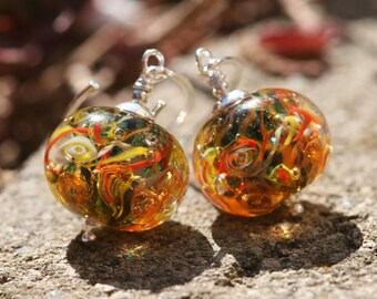 Lampwork and silver earrings, Glass Earrings, Ocean Earrings, artisan lampwork bead 3D, Earrings Lampwork Aquarium, yellow,orange bright