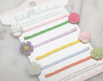 Flower Bobby pins, set of SIX, makes an adorable stocking stuffer or everyday hair accessories!