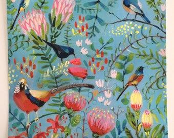 Dreams of birds and flowers 2-  Folk art PRINT of acrylic painting- wall art- wall decor- home decor art print - yellow