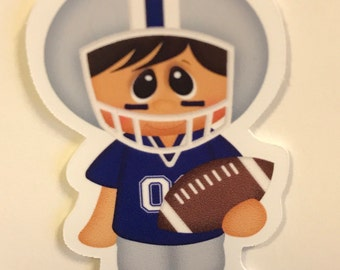 Blue and Light Gray Football Magnetic Bookmark