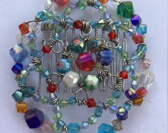 Woman's beaded kippah with attached comb