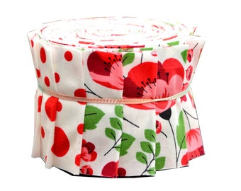 """Scrumptious Quilt 20 strips 2.5x44"""" Jelly Roll Floral Rose Tulip Polka Dot Red"""