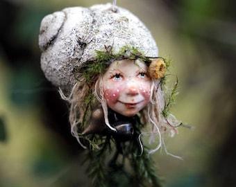 Elf, girl fantasy, fairy, handmade decoration, miniature doll, sculpture, snail hat