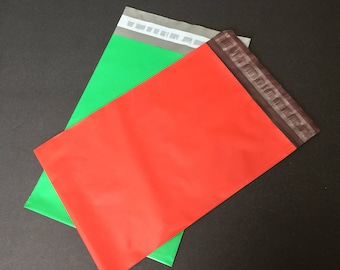 100  6x9 RED and GREEN Poly Mailers 50 Each  Self Sealing Envelopes Shipping Bags Christmas