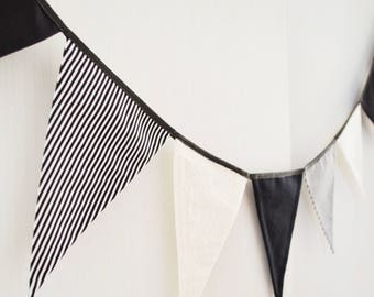Black and white wall art Bunting banner Fabric banting Pennant flag garland Nursery bunting Party decoration Birthday decor Bedroom bunting