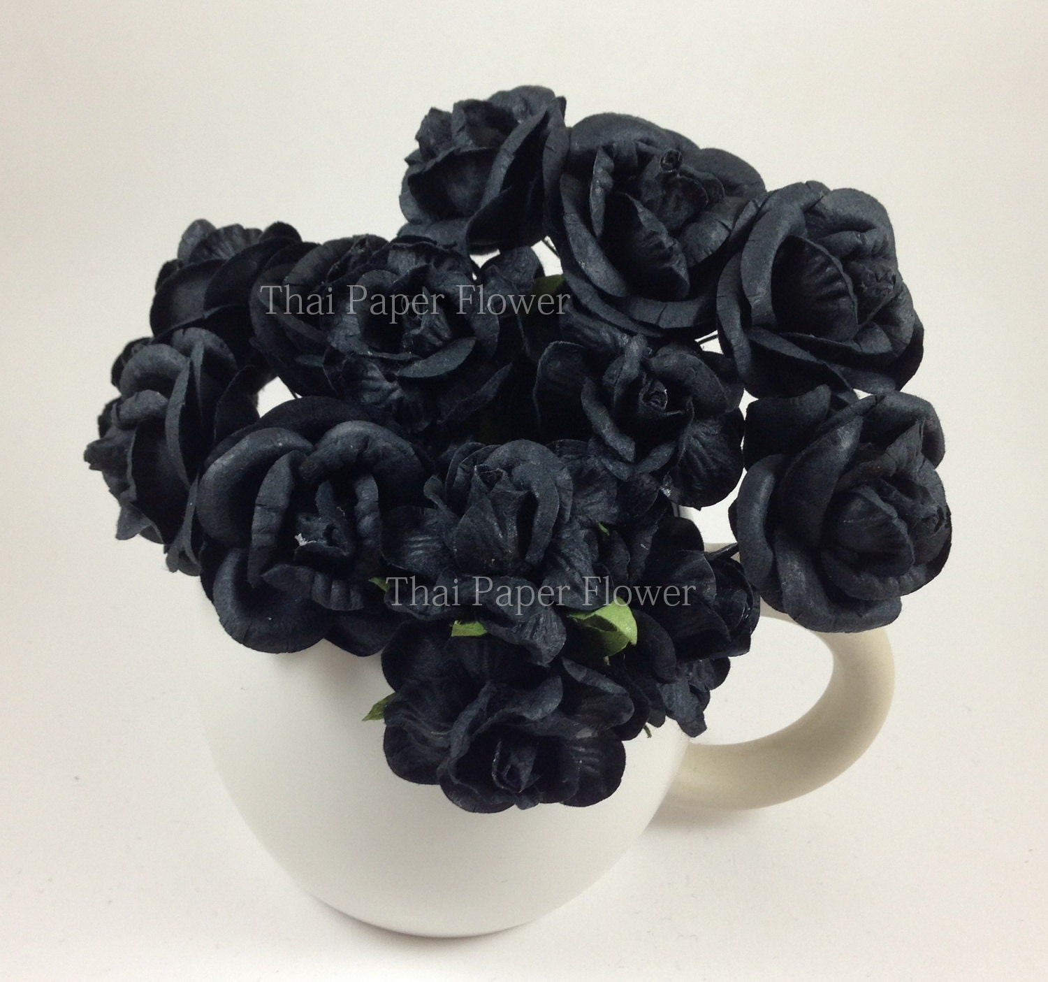 5 Black Large Roses Mulberry Paper Flowers Scrapbook Craft Wedding