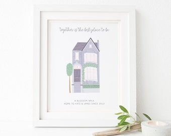 Family Home Print - Home Sweet Home Print - Personalised House Print - Housewarming Gift - New Home Gift - Family House Print