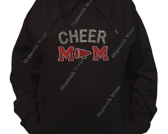 "Rhinestone Women's Pullover Hoodie "" Red Cheer Mom with Megaphone in Rhinestones "" Sweatshirt Sm to 3X"