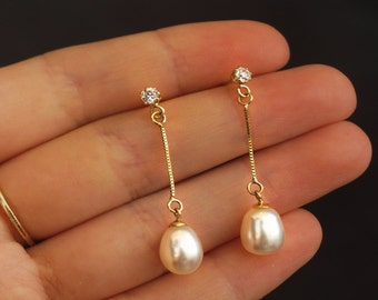 White Pearl Earrings, Gold Pearl Earrings, 14k Pearl Earring, Gold Jewelry, Pearl Jewelry, Pearl Dangle Earrings, Gift for Her, Dangle Pearl