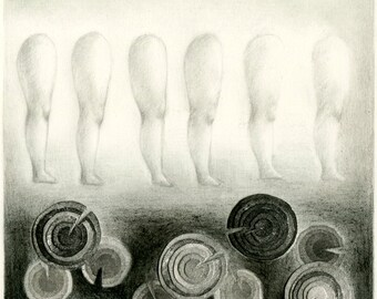 Original mixed media drawing - The legs and the circles 2