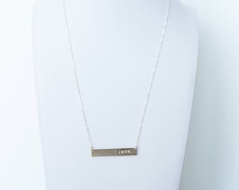 Bar Necklace, Custom, Hand-Stamped, Personalized, Dainty Necklace, 14k Gold Fill, Rose Gold Fill or Sterling Silver, Gift for Her