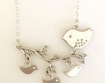 Mother's Necklace, Mama Bird Branch Necklace, Mother's Day, Baby Bird Charms, Grandmother Necklace, Birds On Branch
