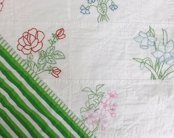 Vintage Hand Embroidered Crib Quilt