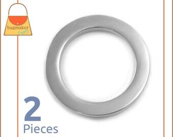 "1 Inch Flat Rings, Super Shiny Nickel Finish, 2 Pieces, Purse Handbag Bag Making Hardware Supplies, 1"" One Inch, RNG-AA279"