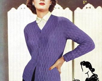 Seriously Stylish Early 1950s Cardigan Jacket 34 to 36 Bust Sirdar 1391 Vintage Knitting Pattern Instant Download