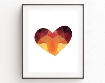 Heart Art, Love Hearts, Love Print, Modern Minimal, Art Modern, Orange Decor, Heart Print, Print at Home, Love Sign, Wall Prints