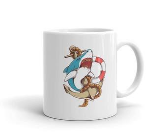Shark and Anchor Old School Tattoo Sea Life Coffee Mug