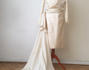 VTG 20s Wedding Flapper Dress with train Downton Abbey gown boardwalk empire 1920s Edwardian queen