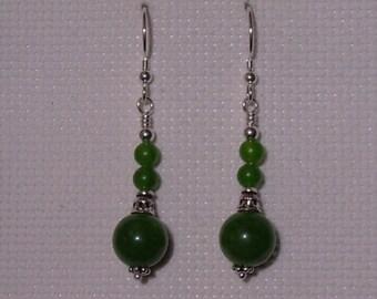 925 Silver Green Jade Drop Earrings BC Green Jade Jewelry Dangle Earrings Gift for Friend Gemstone Stone Earrings Boho Jewelry