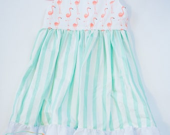 RTS Flamingo and Stripes Summer Dress