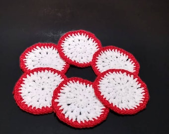 Crocheted Coasters Set of 6  Red Sparkle