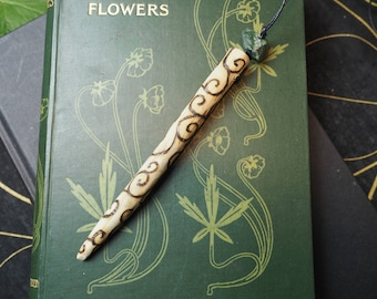 English Oak Spiral Wood Wand Pendant - Strength and Courage - Pagan, Wicca, Witchcraft, Druid, Ogham