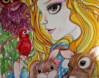 Fairytale Fantasy Sleeping Beauty and Friends Art Print by Leslie Mehl