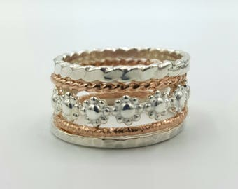 Stacking Ring Set- Sterling Silver and Rose Gold Filled