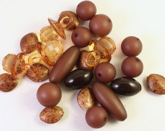 Brown Acrylic Beads, Wholesale Bead Mix with Faceted Pacifier Charms, Binky