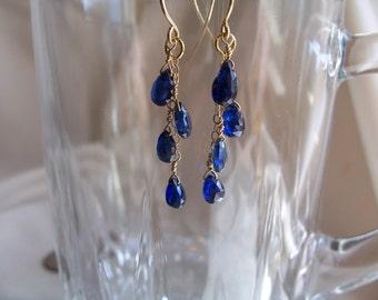 "Blue Kyanite briolettes dangle earrings 1 5/8"" total 14k gold filled gemstone handmade item 285"
