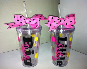 Personalized Big Sis Little Sis Tumblers-Sorority Gift-My Big-My Lil-Best Sorority Gift - Sorority